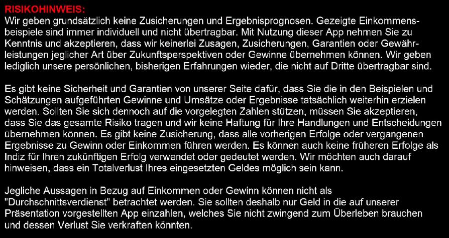 quickx betrug oder scam disclaimer